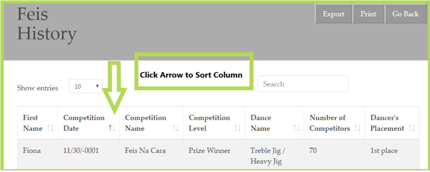 image with green arrow pointing to the sorting arrow icons for table columns